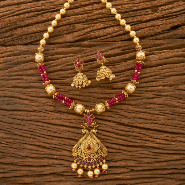 Antique Colored Peacock Pendant Set With Gold Plating for Women