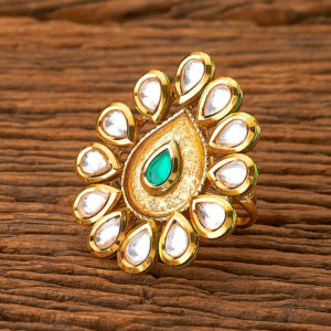 Green Color Kundan Antique Royal Ring for Girls