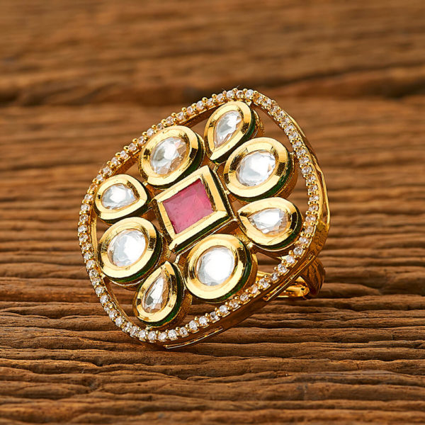 Square Shaped Kundan Ring With American Diamond Touch for Girls & Women