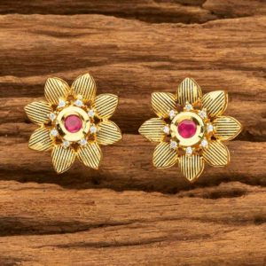 American Diamond Studs With Gold Plating Girls
